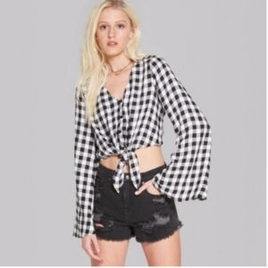Wild Fable Gingham Bell Sleeve Tie Front Woven Top